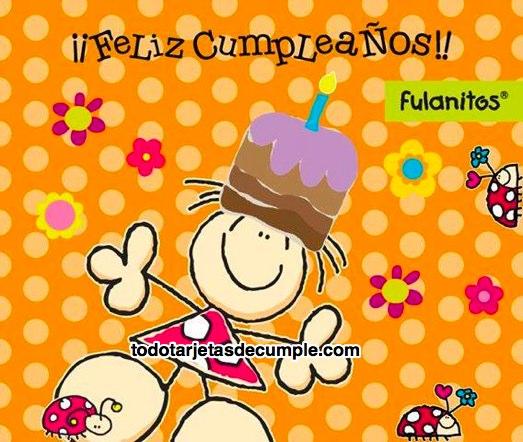 tarjetas de feliz cumpleaños con un simpático muñequito