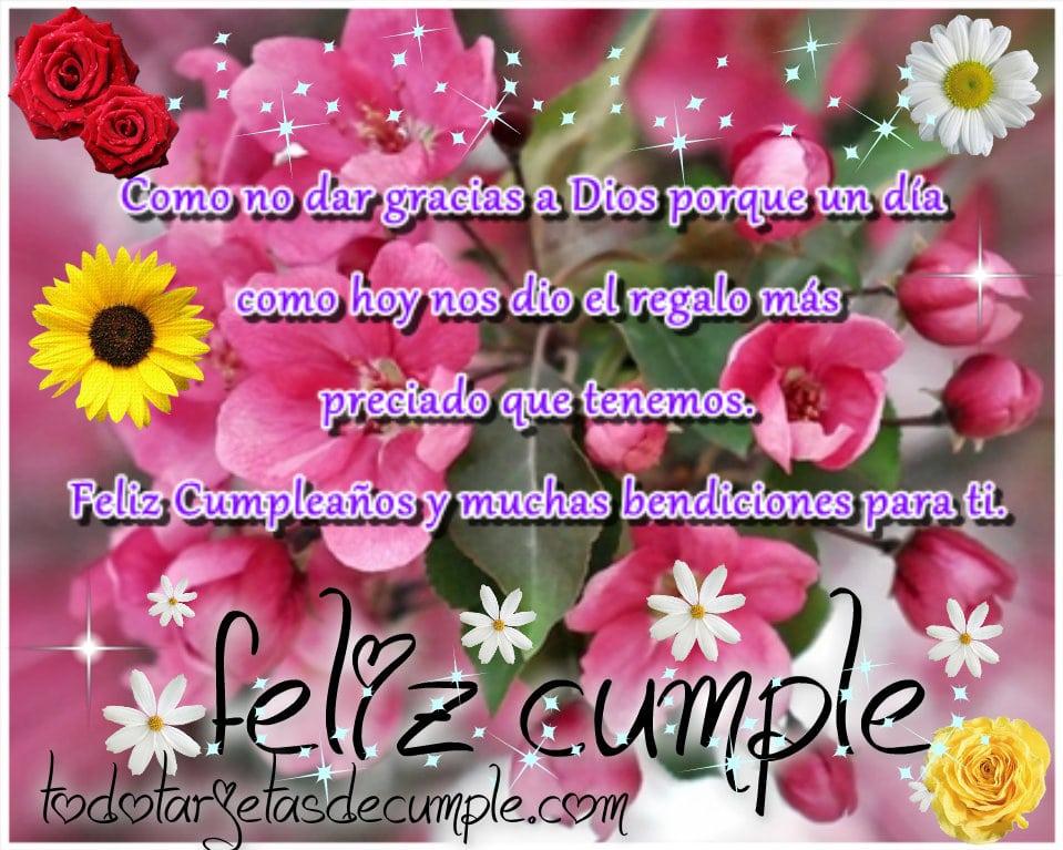 imágenes de feliz cumpleaños y bendiciones para ti con flores